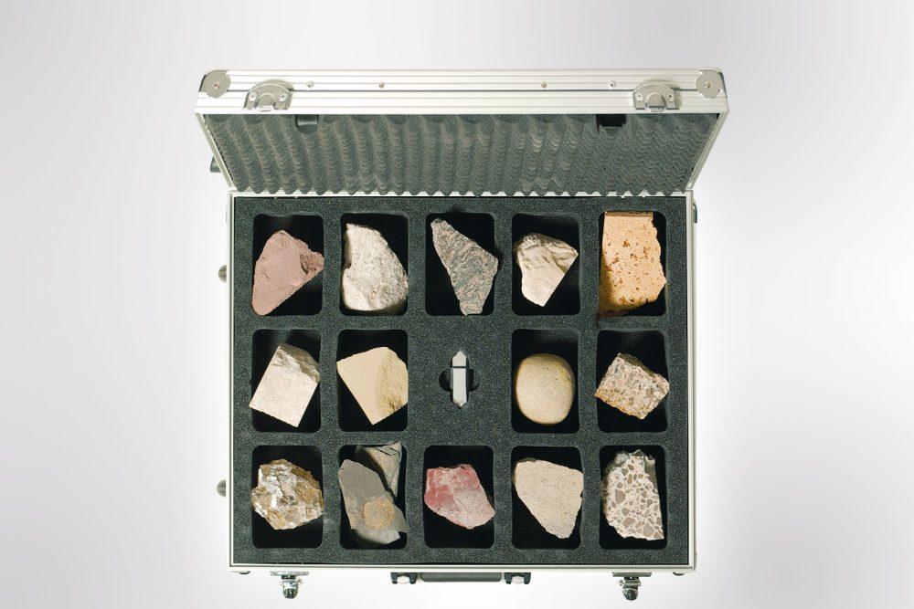 14 Gesteinsstücke zum Be-greifen und Experimentieren