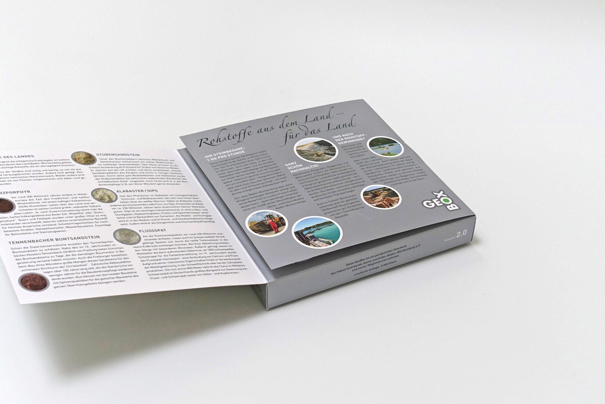 Die Verpackung informiert über die Steine- und Erdenindustrie …